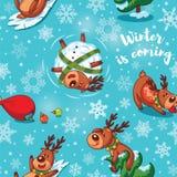 Deers Χριστουγέννων στο άνευ ραφής σχέδιο κινούμενων σχεδίων Στοκ εικόνα με δικαίωμα ελεύθερης χρήσης
