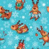 Deers Χριστουγέννων στο άνευ ραφής σχέδιο κινούμενων σχεδίων Στοκ Εικόνες
