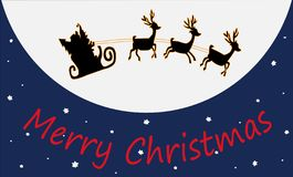 Christmas picture with Santa Claus on a flying sleigh with reindeer against the background of the night sky and the moon. vector illustration