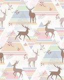 Deers abstract pattern. Silhouette of deers and forest plants on abstract geometric background. Seamless pattern at scandinavian style for textiles and design stock illustration