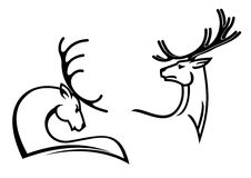 Deers with big antlers Royalty Free Stock Image