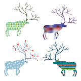 Deers with different pattern set for Christmas Stock Photos