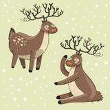 Deers drôles de dessin animé Illustration de Vecteur