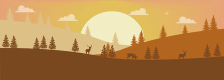 Deers In The Evening Forest. Simple illustration of a colorful mountain landscape Stock Photo