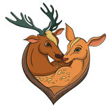 Deers falling in love. Illustration with simple gradients. Stock Images