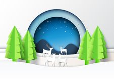 Free Deers Family And Winter Season Landscape Background Paper Art St Royalty Free Stock Photo - 130236795