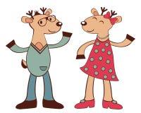 Deers hipsters dancing Royalty Free Stock Photo