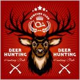 Deers Hunting club emblems set. Royalty Free Stock Image