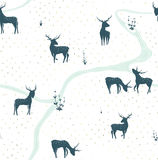 Deers Landscape Delicate Seamless Pattern Stock Photo