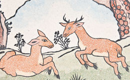 Deers painting on chinese temple wall Royalty Free Stock Photography