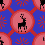 Deers pattern. Deer on an blue background.  It can be used as a seamless texture Stock Photography