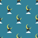 Deers pattern. Deer on a cloud on a blue background.  It can be used as a seamless texture Stock Photo