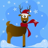 Deers with red santa hat Royalty Free Stock Photos