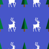 Deers seamless pattern. White вeer and tree on a blue background.  It can be used as  seamless texture Stock Photography