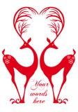 Deers vermelhos com coração, vetor Imagem de Stock