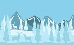 Snowy Mountains and Winter Forest with Deer Family Flat Style Stock Photo