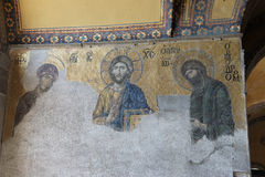 Deesis, Christ approached by Virgin Mary and John the Baptist Stock Photo
