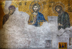 The Deesis mosaic in Hagia Sophia, Istanbul Royalty Free Stock Photo