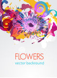 Def. Abstract vector grungy background with drawing flowers Royalty Free Stock Image