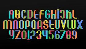 Def black. Colorful alphabet letters and numbers. vector, festive font type. regular, trendy typeface design. contemporary, stylized typesetting Stock Photo