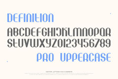 Def pro. Set of stylish alphabet letters and numbers. , medium font type. regular typeface design. contemporary, stylized typesetting Royalty Free Stock Images