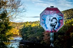 A defaced stop sign in the mountains with Castro's face Royalty Free Stock Photos