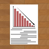 Default and bankruptcy. Document with diagram fall, vector illustration Stock Photo