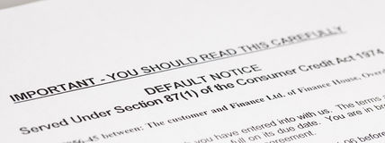 Default Notice Stock Photography