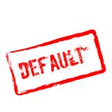 Default red rubber stamp isolated on white. Default red rubber stamp isolated on white background. Grunge rectangular seal with text, ink texture and splatter Stock Images