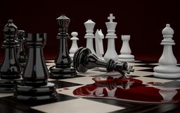 Defeat black chess pieces. 3D illustration of Chessboard with figures during the game close-up on a dark background. Defeat of the black chess pieces Stock Photography