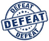 Defeat blue stamp. Defeat blue grunge round stamp isolated on white background stock illustration