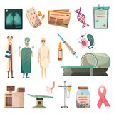 Defeat Cancer Orthogonal Icons Set Stock Images
