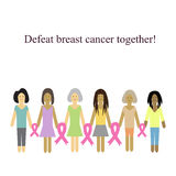 Defeat cancer together. Vector illustration on Royalty Free Stock Photos