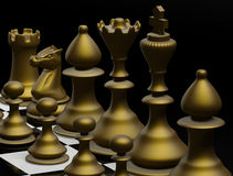 Defeat. Chess board with figures Three Dimensional shape Stock Photography