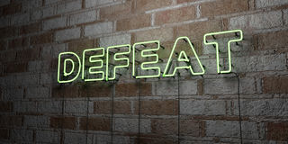 DEFEAT - Glowing Neon Sign on stonework wall - 3D rendered royalty free stock illustration Royalty Free Stock Images