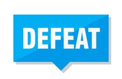 Defeat price tag. Defeat blue square price tag vector illustration