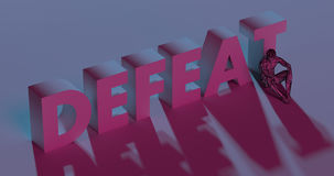 Defeat - red lettering text near sad man, 3d render Royalty Free Stock Photos