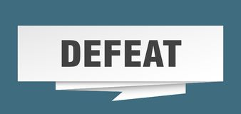 Defeat. Sign.  paper origami speech bubble.  tag.  banner stock illustration