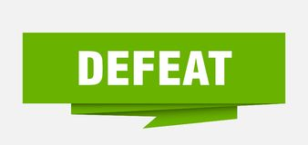 Defeat. Sign.  paper origami speech bubble.  tag.  banner royalty free illustration