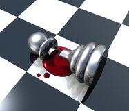Defeated. A 3D chess pawn slayed on the chess boared with blood dripping Stock Images