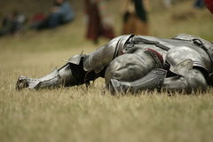 Defeated. Knight defeated on the battlefield Royalty Free Stock Photo