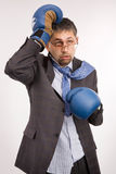 Defeated businessman - boxer Royalty Free Stock Photography
