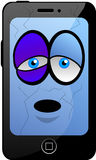 Defeated Cartoon Smartphone. Beaten smarmartfon, mobile phone or tablet Royalty Free Stock Photography