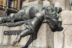 Defeated knight on the monument to the battle of Grunwald. KRAKOW, POLAND - OKTOBER 28, 2015: A figure of a defeated knight on the monument to the battle of Stock Photo