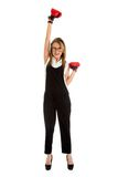 Defeated loser woman - business concept with businesswoman. Wearing boxing gloves standing in full body looking hopeless Royalty Free Stock Images