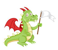 Defeated surrendering dragon holding a white flag Royalty Free Stock Images