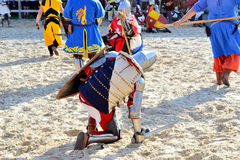 Defeated warrior. International Championship on the historical medieval battle Call of heroes. It passes near Kiev, in the village of Kopachev, Ukraine, 19-20 Stock Photos