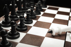 Defeated white chess king Royalty Free Stock Photography