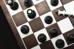 Defeated white chess king Stock Images