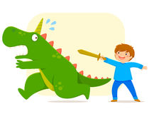 Defeating a monster. Little boy with a wooden defeating a monster Stock Photos